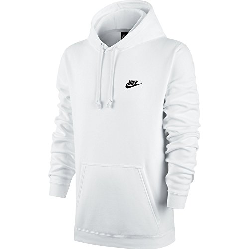 Nike Mens Sportswear Pull Over Club Hooded Sweatshirt - XX-Large - White/Black