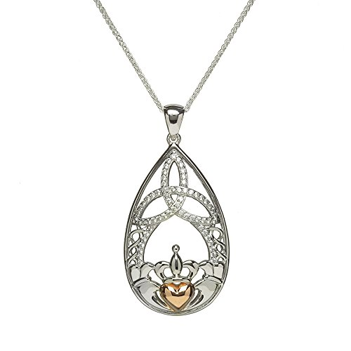 Boru Celtic Rose Gold Necklace Trinity Knot & Claddagh Made in Ireland