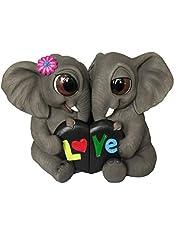 "DWK 6.5"" More to Love Elephant Couple Romantic Lovers Gift African Safari Desk Figure Statue for Home Decor"