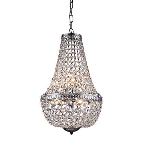 Edvivi 6-Light Chrome Crystal Empire Chandelier Pendant Ceiling Fixture Glam Lighting