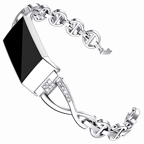 Maccasing Compatible  Charge 3 Bands for Women - Metal Replacement Wristbands/Accessories Bracelets/Bangle Compatible Charge 3 SE with Bling Rhinestone Silver Black ()