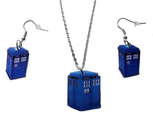 [Doctor Who TARDIS POLICE BOX Plastic EARRINGS & PENDANT SET] (Matt Smith Costume)