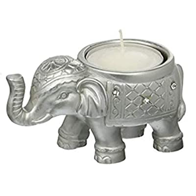 20 Good Luck Silver Indian Elephant Candle Holder