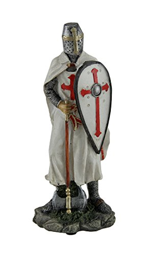Warrior Crusader Knight - Zeckos Knights Templar Medieval Armored Crusader with Sword and Shield Statue