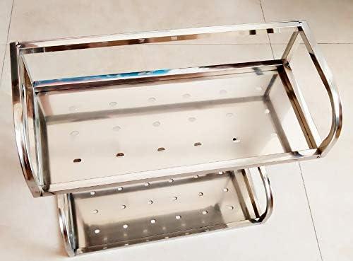 Regal Doppel Edelstahl Badezimmer Anhänger Ablagekorb Korb Rechteckigen Rahmen Stativ Ecke Dreieck Korb,Einfach zu bedienen (Design : Rectangle)