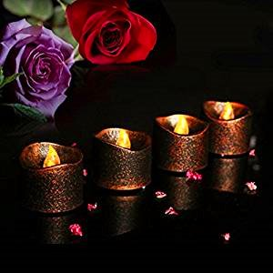 LACGO Halloween Christmas Bronze Color Battery Operated LED Tea Lights with Yellow Flicker Flame, Flickering Flameless Tealight, Non Wax, Electric Flamless Led Candles for Votive Candles, Centerpieces, Perfect Flickering Action for Indoor& Outdoor, Wed