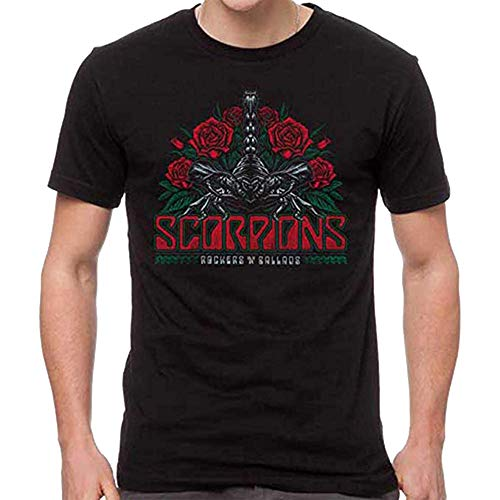 Scorpions Rocker Ballad Men's Short Sleeve T-Shirt-Black-Large Medium