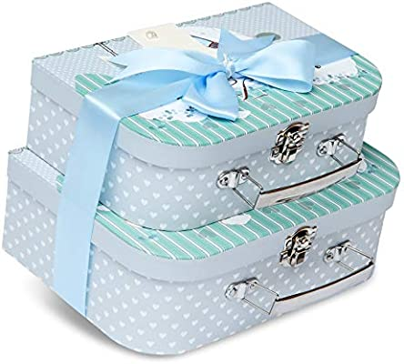 Caja de recuerdos – 2 cajas con cinta de satén y etiqueta de mensaje azul azul: Amazon.es: Bebé