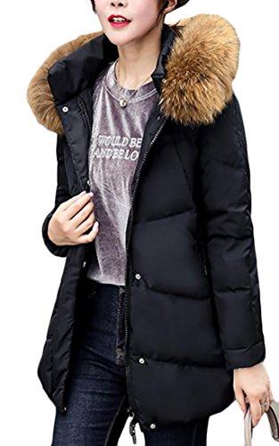 Down Fur Long Women's Generic Puffer Warm Collar Black Sleeve Jackets 0P4fExqw