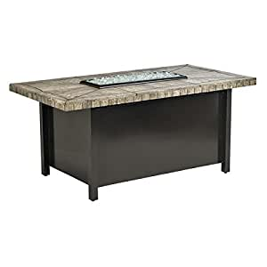 "Fire Pit American Fire Carmel Rectangle Fire Pit With 54"" x 28"" Gray Travertine Mosaic Top FCPAFP-CAR-RCTTRAV-541"