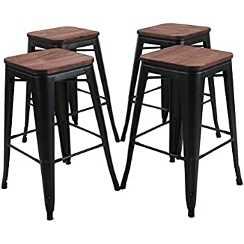 Amazon Com Tongli Metal Barstools Set Industrial Counter