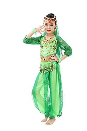 So Sydney Girls Kid Childrens Deluxe Belly Dancer Halloween Costume Complete Set (S (4/5), (Child Belly Dancer Halloween Costume)