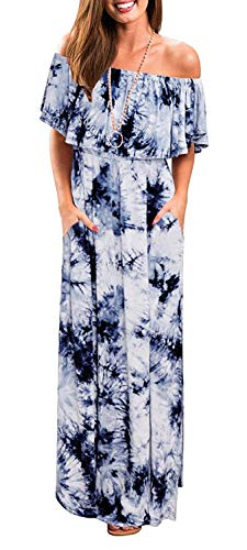 MIDOSOO Womens Off The Shoulder Ruffled Pockets Strapless Side Split Maxi Dresses #2Blue S