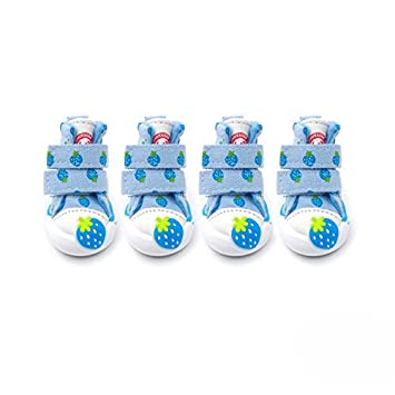 Zhuhaimei,VSE17001 Zapatos para Mascotas Invierno Lona Impermeable Zapatillas de Deporte para Perros Algodón Fresa Antideslizante Mascota para Chihuahua y ...
