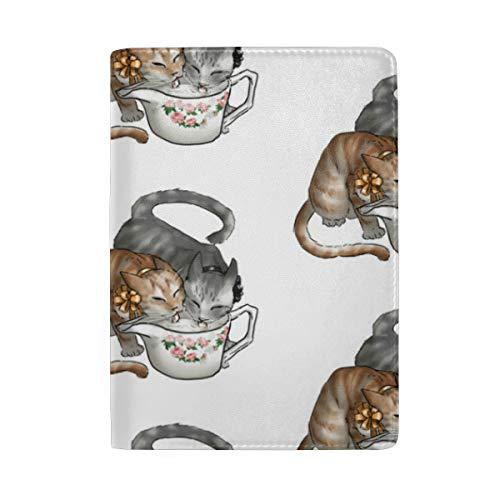 Kitten Tea Party Drinking Creamer Passport Holder Wallet Cover Case Leather Travel Wallet ID Card Case