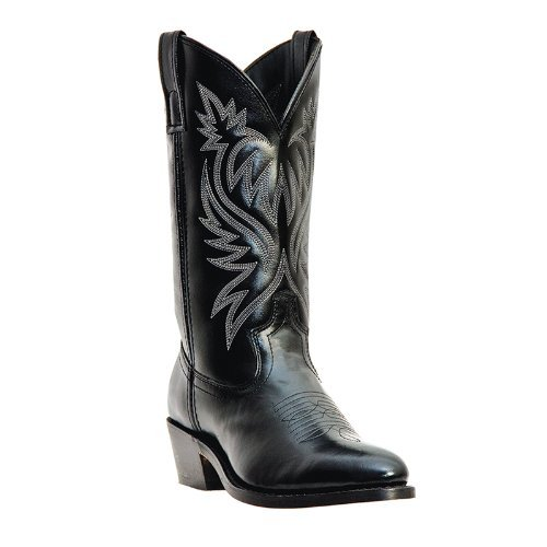 Laredo Mens Black Leather London 12in Sueded Outsole R Toe Cowboy Boots 14 ()