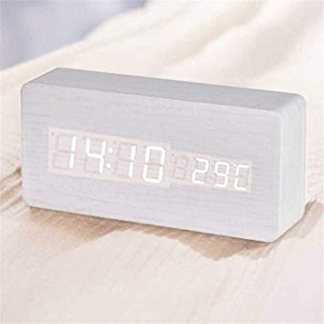 Queta LED Reloj Despertador Reloj de Madera Reloj Digital Despertador Oficina Fecha Temperatura Pantalla Humedad 12/24 Horas (Blanco): Amazon.es: Hogar