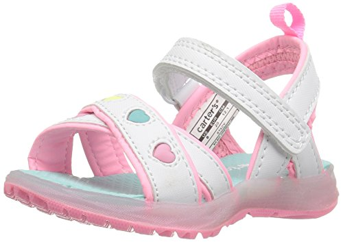 carter's Stacy Girl's Light-Up Sandal, White/Pink/Turquoise, 7 M US Toddler