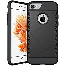 CaseHQ iPhone 7 Case,Extreme Heavy Duty Protection Style Premium Hybrid Protective Case for Apple iPhone 7 (4.7 inch screen) 2016 Release (Black)