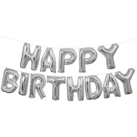 Metallic Happy Birthday Banner - Adorox 16 Inches Happy Birthday Metallic Aluminum Foil Birthday Balloon Banner (Silver)
