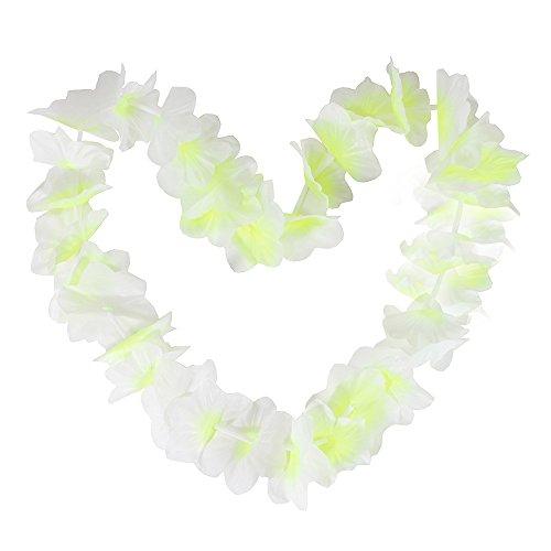 (Tropical Hawaiian Luau Ruffled Simulated Silk Flower Leis Party Favor Pack of 10-White Yellow)