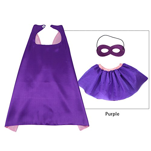 Girl Superhero Tutu Costumes (iROLEWIN Superhero CAPE MASK - TUTU Dress Girl Costume Set - Party Game (Purple))
