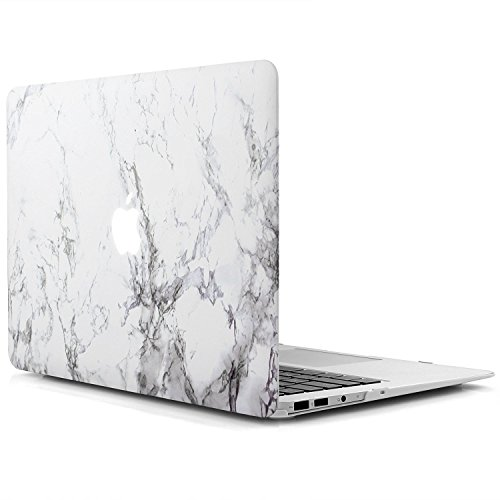 iDOO Marble Pattern Case for [ MacBook Air 11 inch ] (Model: A1370 and A1465 )- Matte Rubber Coated Hard Shell Cover - White