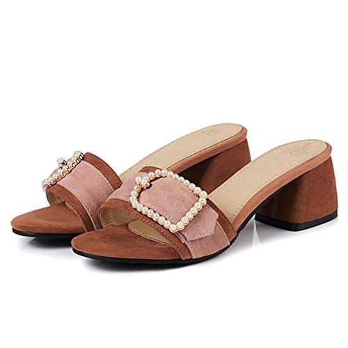 Sandales À Femmes Marron Razamaza Mules Pour Bout La Mode Chaussures Ouvert À ZnxwSOW7f