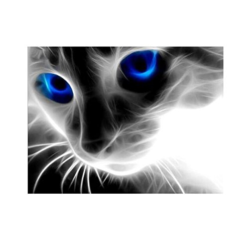 Diamond DIY Painting, UEB Full Drill Blue Eyed Cat 5D Diamond DIY Painting Craft Kit Home (Diamond Cut Figure)