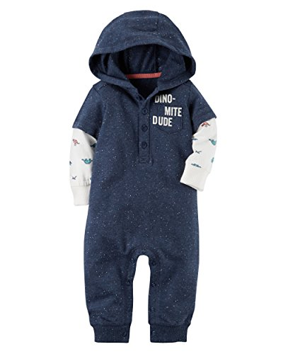 Carter's Baby Boys' Hooded French Terry Jumpsuit (3 Months, Blue) Ribbed Woven Sweater