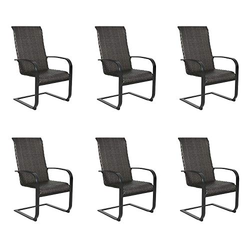 Ulax Furniture Patio Spring Motion Dining Chairs Outdoor Steel Wicker Chairs Set of 6