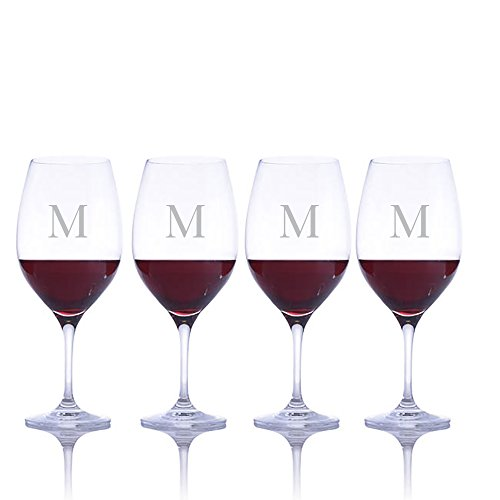 Personalized Ravenscroft Lead-free Crystal 4 pc Stemmed Vintner's Choice Bordeaux/Merlot/Cabernet Red Wine Glasses Engraved & Monogrammed - Great Gift for Father's Day, Weddings and - Monogrammed Red Wine