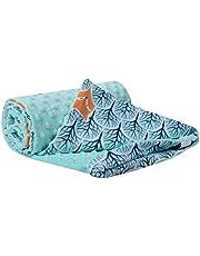 Krypfilt 100 % bomull 75 x 100 cm dubbelsidig multifunktionell Minky gosig filt för barnvagnar mjuk fluffig