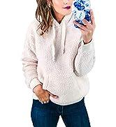 KIRUNDO 2021 Winter Women's Fleece Hoodies Sweatshirts Long Sleeves Shaggy Fuzzy Pullovers Short ...