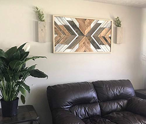 Reclaimed Wood Wall Art. Large Rustic Mosaic Reclaimed Wood Art Natural Weathered and White Washed Wood Sign