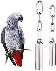 NAMIS 2 sztuki dzwonka ze stali nierdzewnej zabawki ze słodkim dźwiękiem dla papugi trwałe zabawki dla ptaków, makaw afrykańskie szary, kokatiel, papużek (2 rozmiary)