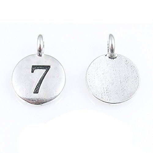 (TierraCast Pewter Number Seven Charms-Silver Round