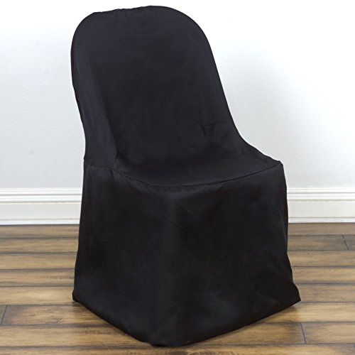 BalsaCircle 10 pcs Black Polyester Folding Flat Chair Covers Slipcovers for Wedding Party Reception Decorations
