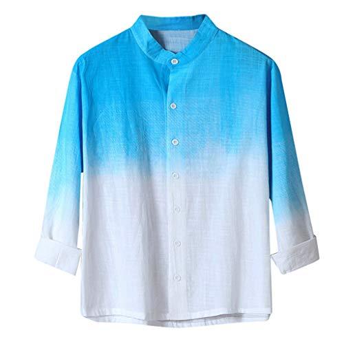 The North Face Cotton Henley - Mens V Neck Cotton Linen Gradient Shirts Long Sleeve Casual Henley Beach Summer Tops