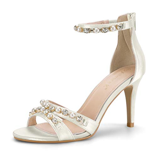 Allegra K Women's Rhinestone Pearls Stiletto Ankle Strap Heel White Sandals - 6 M US