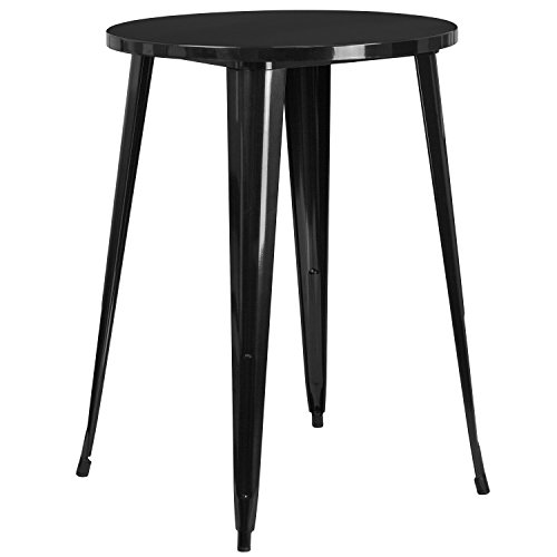 Flash Furniture 30'' Round Black Metal Indoor-Outdoor Bar Height Table (Patio 30 Table Round Metal)