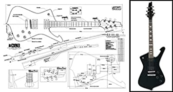 Plan of Ibanez Iceman Electric Guitar - Full Scale Print: Amazon.co