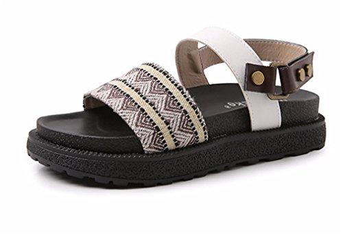 HN Shoes Mujer Bohemia romano playa Sandalias Redondo Mirar furtivamente Dedo del pie Tobillo Correa Verano Dar la vuelta Flops Colegio Plano Zapatos brown