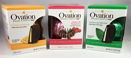 Ovation Break-A-Parts Bundle | Creme de Raspberry Filled milk Chocolate + Creme d'Orange Filled Dark Chocolate + Creme De Menthe Filled Dark Chocolate | Mint, Orange, Raspberry (Chocolate Filled Mints)