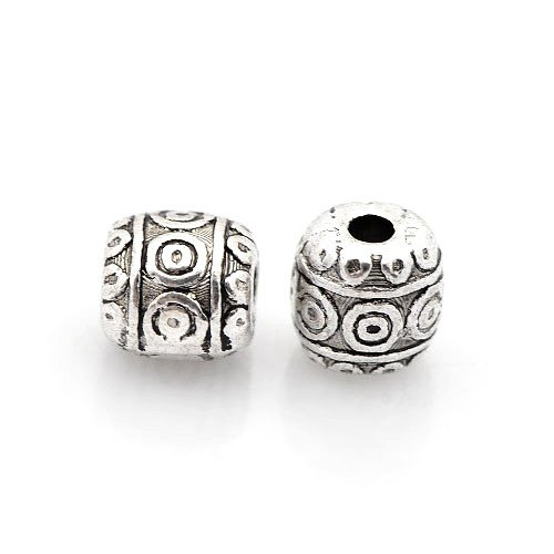 Packet 30 x Antique Silver Tibetan 6mm Barrel Spacer Beads HA17330 (Charming Beads) Something Crafty Ltd