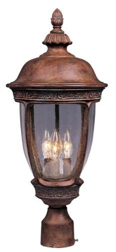 Maxim Lighting 40460CDSE Three Light Sienna Seedy Glass Post Light, Copper by Maxim Lighting