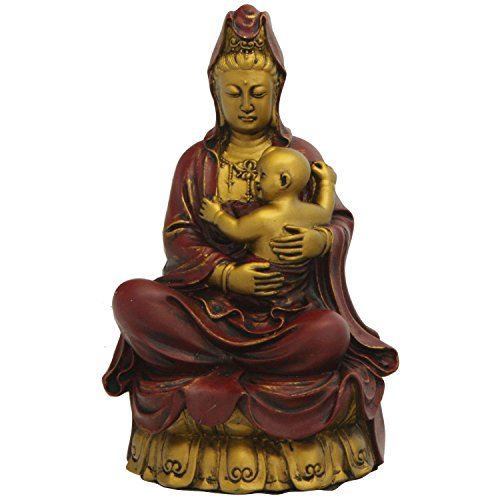 - Statue of Kuan Yin with Baby, Gold Finish. 6.25 Inches