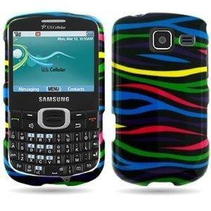 (LF 3 in 1 Bundle - Designer Hard Case Cover, Lf Stylus Pen & Screen Wiper for (U.S. Cellular, Cricket) Samsung R390 Freeform 4 (Rainbow Zebra))