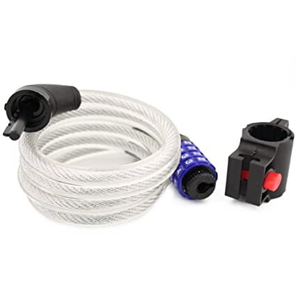 Topzone 47 inch Extra Long Heavy Duty 12mm Cable Self Coiling 4-digit Combination Bicycle Bike Lock with Mount Topzone®