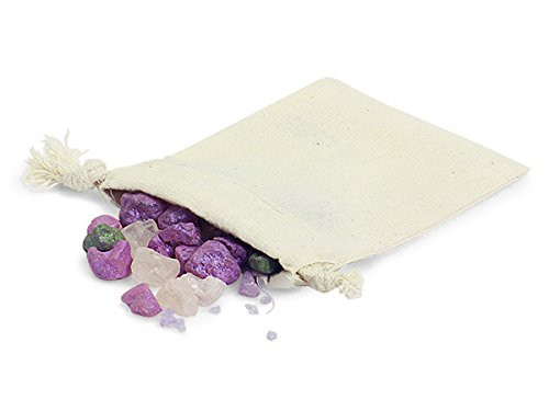 Pack of 12, 3 x 4'' Solid Natural fiber Cotton Bags w/100% cotton cord drawstrings perfect for jewelry, soaps, cosmetics, favors & gift cards